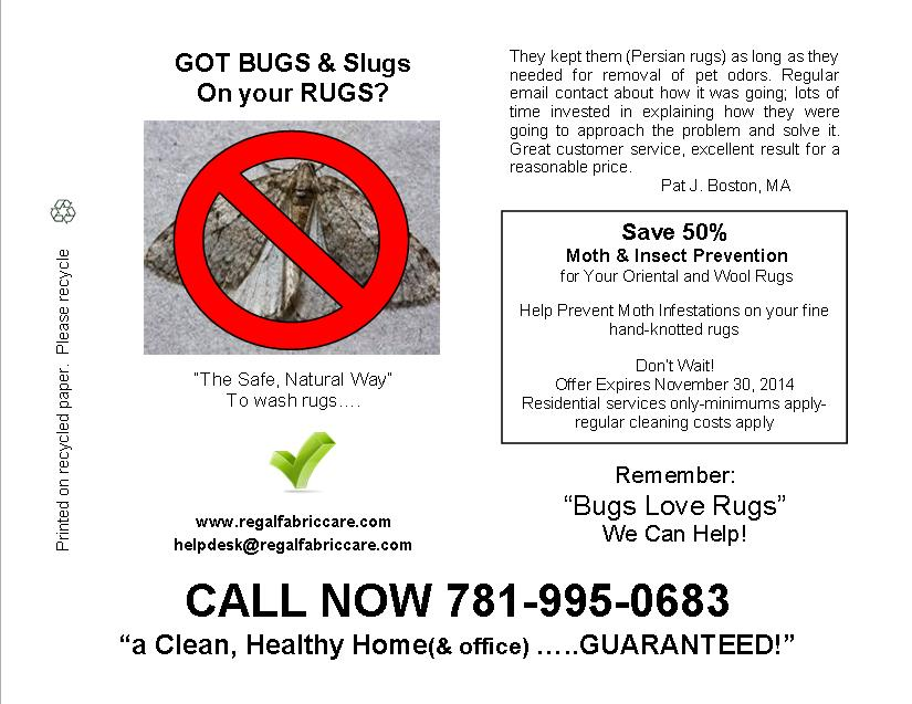 GOT Slugs and Bugs in your Rugs??? - REGAL FABRIC CARE ...